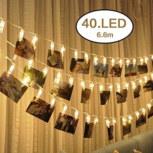 Kindax Luci con Mollette 6,6m 40LED Catena di Lampadine Decorative Impermeabile per Attaccare le Foto Alimentata a Batteria per Giardini Casa Matrimonio Festa di Natale Compleanno