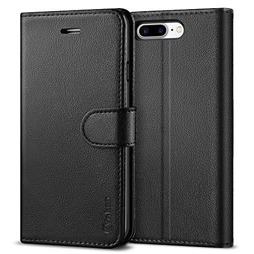 Vakoo PU-Leder Schutzhülle Kompatibel mit iPhone 8 Plus Hülle, iPhone 7 Plus, Brieftasche Handyhülle für Apple iPhone 8 Plus/7 Plus - Schwarz -