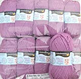500g Wollpaket Schachenmayr Baby Smiles Bravo Baby 135, Farbe 01047 flieder ca. 133 m 10x50 g Babywolle zum Stricken weich, Wollpakete Sonderposten