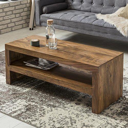 FineBuy Couchtisch Massiv-Holz Sheesham 110 cm breit Wohnzimmer-Tisch Design dunkel-braun...