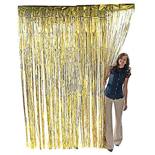 g Lametta Vorhang Tür Fenster Vorhänge für Hochzeit Geburtstag Party Dekorationen - Gold (Gold Und Lila Dekorationen)