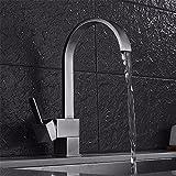 S.TWL.E Küche Küchenarmatur Waschtischarmatur Mischbatterie Spülbecken Armatur Wasserhahn Bad Kupfer Küche 304 Edelstahl Nickel gebürstet Waschbecken