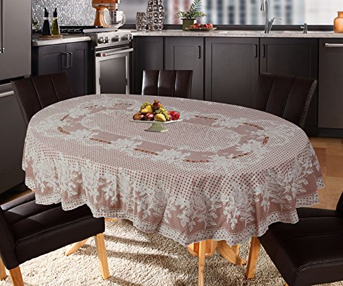 Katwa Clasic - 54 x 78 (Oval) Rose Lace Vinyl Tablecloth (Brown)