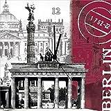 Artland Analoge Wand-Funk-oder Quarz-Uhr Digital-Druck Leinwand auf Holz-Rahmen gespannt mit Motiv S. L. Berlin_bordeauxrot Architektur Gebäude Sehenswürdigkeiten Digitale Kunst Bordeauxrot A1LJ