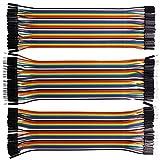 VIPMOON 120pcs Multicolor Dupont alambre macho 40pin a la hembra, macho de 40pin a macho, 40pin hembra a la hembra de tablero de cortar cables de puente Fabricación de kit de cables de cinta