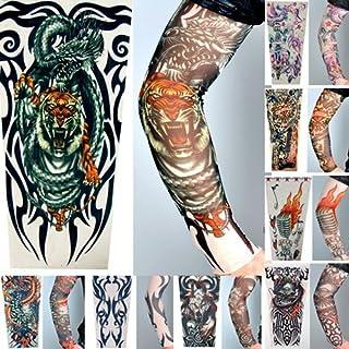 8 x AKORD® Stretch Nylon Fake Tattoo Sleeves / Arms - Fancy Dress, Tribal / Tiger / Skull Tattoo by AKORD