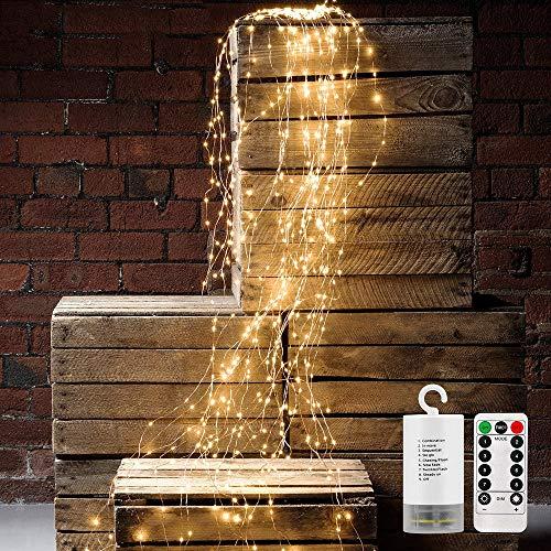 Wasserdichte Dekorative Wasserfall-String-Leuchten, 10 Strands 200 Leds Hanging Twinkle Fairy Lights Batterie mit Remote Timer Silver Wire Timbo Starry Lights