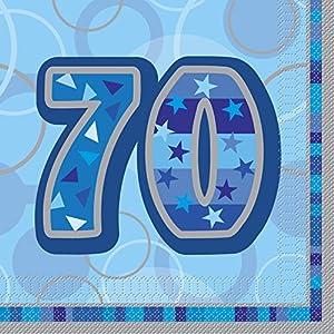 Unique Party Paquete de 16 servilletas de papel de 70 cumpleaños Color azul Edad (28465