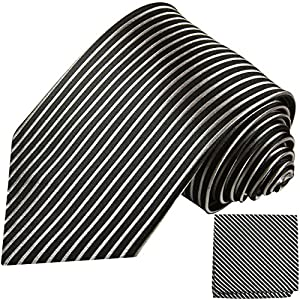 Paul Malone XL Krawatten Set schwarz silber 100% Seidenkrawatte (Extralang 165cm) +Einstecktuch