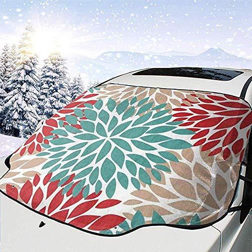 Dalia Pinnata Fiore Beige Blu e rosso chiaro Copertura per parabrezza Copertura per neve Mantieni il tuo veicolo esterno senza ghiaccio Misura per la maggior parte delle auto,147 * 118 cm