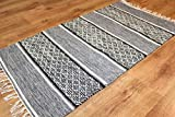 Trendcarpet Teppich 135 x 190 cm (baumwollteppich) - Visby (Schwarz-Weiß) Größe 135 x 190 cm