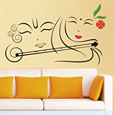 Decals Design 'Radhe Krishna with Flute' Wall Sticker (PVC Vinyl, 50 cm x 70 cm)