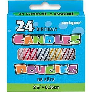 Unique Party Paquete de 24 velas de cumpleaños Multicolor (1901MC