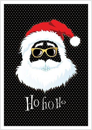 Ho, Ho, Ho Coole lustige Hipster Weihnachtskarte Retro Gangster zu Weihnachten mit Weihnachtsmann/Nikolaus, Brille, Mütze in Grün/Schwarz (Mit Umschlag) (1)