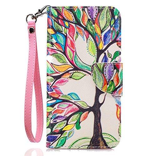 LG G6Fall, LG G6Wallet Tasche, G6Case, jancalm [Handschlaufe] [Standfunktion] [/Cash Slots] Muster Premium PU Leder Brieftasche Handy Fällen Flip Cover + Crystal Pen, Beautiful Tree Lg Tasche