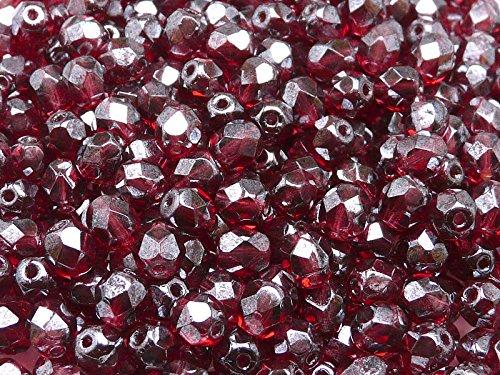 Transparente Schimmer (50pcs Tschechische Facettierten Glasperlen Fire-Polished Rund 6 mm, Fuchsia Shimmer (Pink-Red Transparent White Luster))