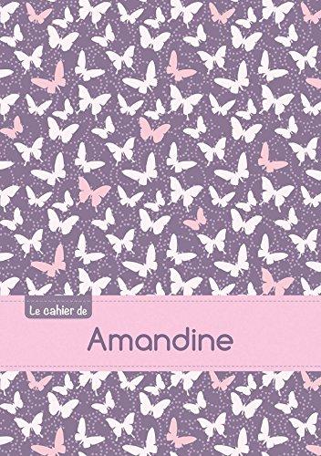 Le cahier d'Amandine - Petits carreaux, 96p, A5 - Papillons Mauve