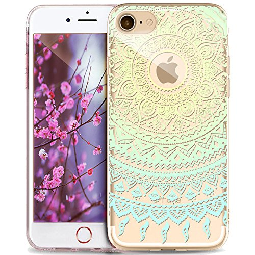Cover iPhone 6S Plus,Custodia iPhone 6S Plus,Cover iPhone 6 Plus,Custodia iPhone 6 Plus,ikasus® Crystal Clear TPU con Indische Sonne Mandala del fiore per iPhone 6S Plus / 6 Plus Custodia Cover [Cryst Mandala del fiore #8