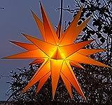 Mit LED 20-Zack Außenstern gelb, Outdoorstern inkl. Außenkabel/Außensterne, Leuchtmittel StaRt-NDL-DUH-E14-3,5W 104 SMD Dioden - kein störanfälliger Trafo nötig!