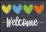 Salonloewe Fußmatte waschbar Heart Welcome bunt 050x075 cm