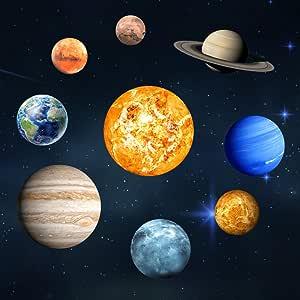 Belle Nuit Ciel Lune Planètes Étoiles Lot De Vinyle Mur Autocollants Enfants Chambre Nouveau
