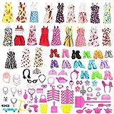 Miunana 15 Vêtements Robes + 108 Aticles Combinaison complète Chaussures Cintres Cuisine Fournitures Outils de Nettoyage Pour Poupée Barbie Livraison Aléatoire