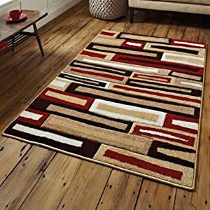 Tapis de salon moderne matrix beige rouge 120 x 170 for Amazon tapis de salon