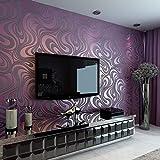 QIHANG Moderne Luxus Abstrakte Kurve 3d Tapete Rolle Beflockung für Striped Lila Farbe 0.7m * 8.4m = 5.88㎡