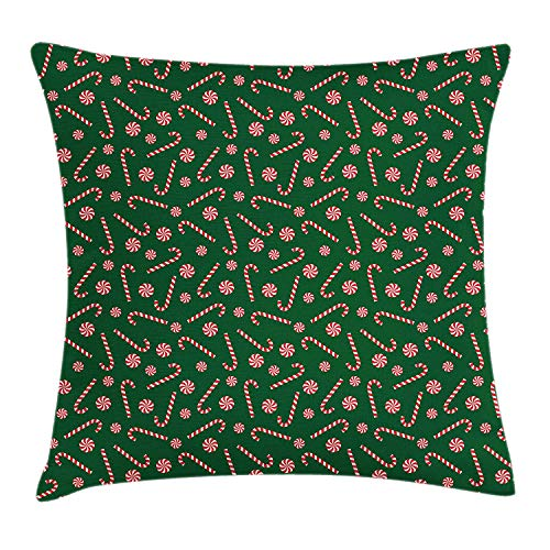 Candy Cane Throw Pillow Cushion Cover, Xmas Season Sweets Candy Cane Lollipop Merry Christmas Theme, Decorative Square Accent Pillow Case, 18 X 18 Inches, Fern Green Vermilion White