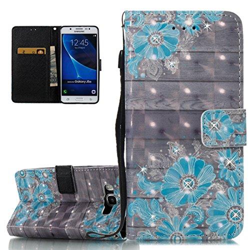 Coque Galaxy J5 2016, Etui pour Samsung Galaxy J5 2016, ISAKEN Bling Strass Cristal PU Cuir Flip Magnétique Portefeuille Etui Housse de Protection Coque Étui Case Cover avec Stand Support et Carte de  Bois de fleurs bleues