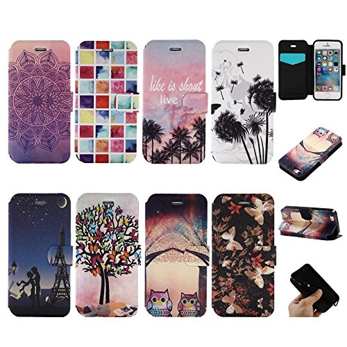 For IPHONE 5S/SE[COLORFUL PU DDUD]Fashion Cute Magnetic Snap Wallet Card Flip Synthetic Holster Leather Stand With TPU Case Cover -DD06 DD06