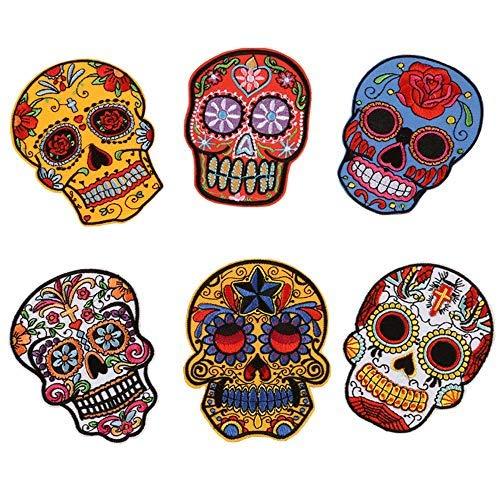 Totenkopf-Aufnäher zum Aufbügeln, Stickerei, Stickerei, Gespenster-Kopftuch, Brustaufkleber, mit Tag der Toten, Logo, für DIY Dekoration, Mantel, Jacken, Jeans, (6 Stück)