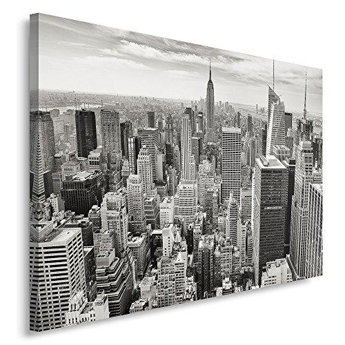 Feeby, Wandbild - 1 Teilig - 80x120 cm, Leinwand Bild Leinwandbilder Bilder Wandbilder Kunstdruck, NEW YORK, ARCHITEKTUR, SCHWARZ-WEIß