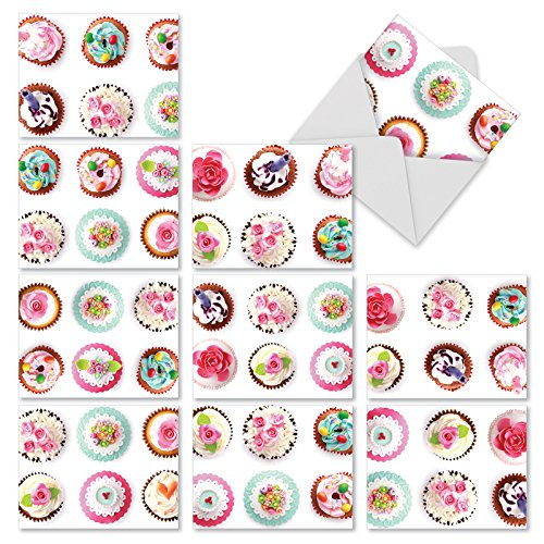 M3050sl Frosted Fun: 10 Assorted Blank All-Occasion Note Cards Feature Fun Cupcake Images, w/White Envelopes. by The Best Card Company