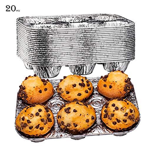 Elite Selection Muffinformen aus Aluminiumfolie, wiederverwendbare und Einweg-Muffin-Folie, stapelbar, 6 Schlitze, Backofen- und Gefrierschranksicher, 20-teiliges Set (Elite-backofen)