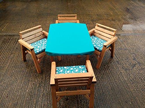 FENTON GARDEN FURNITURE. Made & Delivered 4'15,2cm Tisch & 4Stühle. Holz Patio-Möbel Set. Mit Kissen Set. Türkis (Türkis Patio-stuhl-kissen)