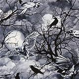 Schwarz-grauer Gothic Raben Halloween Stoff Timeless