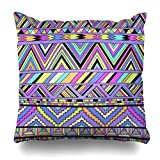 Klotr Fundas para Almohadas Old Pink Retro Tribal Aztec Fancy Abstract Geometric Ethnic Striped Hipster Doodle Ndebele Pillowcase Square Size 18 X 18 Inches Home Decor Cushion Cases
