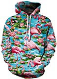 AMOMA Unisex Slim Fit Sweatshirt Kapuzenpullover Hoodies Langarm Top Jumper Shirt für Damen und Herren (Small/Medium, Flamingo)