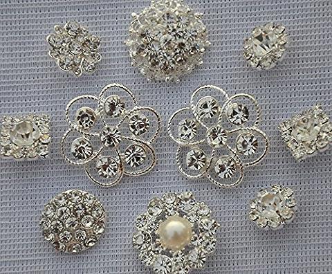 10 pcs Assorted Rhinestone Buttons Brooch Embellishment Set Pearl Crystal Wedding Brooch Bouquet US Seller
