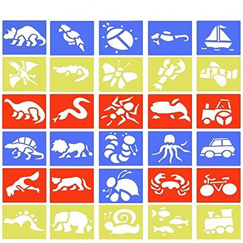 BUZIFU Zeichenschablone 30 Stücke Schablone Kunstoff Malschablone Set für Kinder DIY Zeichnung