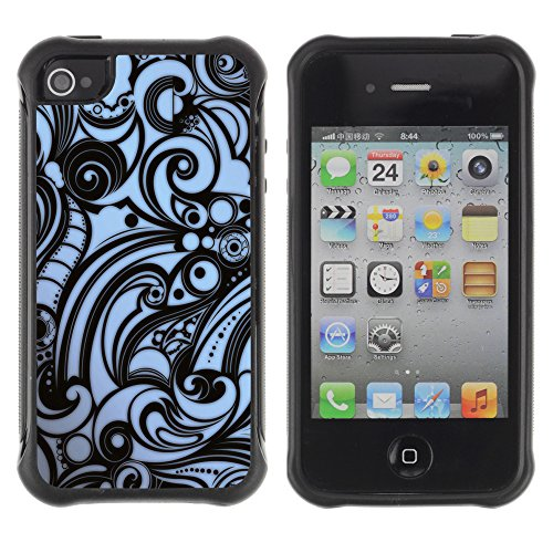 Graphic4You Blue Flowers Muster Design Harte Hülle Case Tasche Schutzhülle für Apple iPhone 4 und 4S Design #12