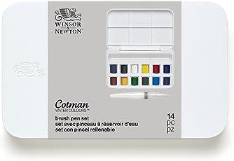 Winsor & Newton 390658 Cotman Brush Pen Set Pinselstift - Set im Taschenformat, 12 Aquarell - Farben, 1 Mischpalette