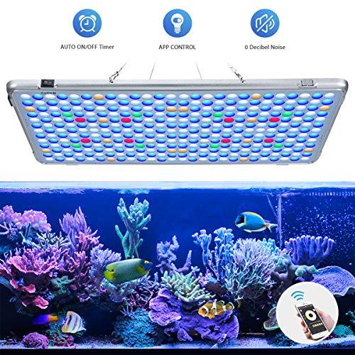 Bozily Aquarium Beleuchtung LED, Vollspektrum Korallenriff Lampe für Aquarium Tanks, APP Steuerung mit Auto EIN/Aus, Dimmbar & Timer für das Wachstum von Pflanzen im Salzwasser Süßwasser -
