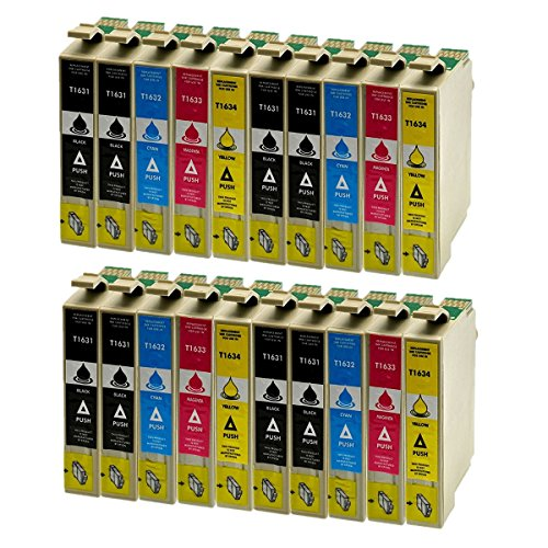 Azprint 20er Set Kompatibel Epson 16XL T16 XL T1631 T1632 T1633 T1634 Druckerpatronen für Epson WorkForce WF-2010W, WF-2510WF, WF-2520WF, WF-2530WF, WF-2540WF, WF-2630WF, WF-2650DWF, WF-2660DWF, WF-2750, WF-2750DWF, WF-2760DWF | 8 Schwarz, 4 Blau, 4 Rot, 4 Gelb