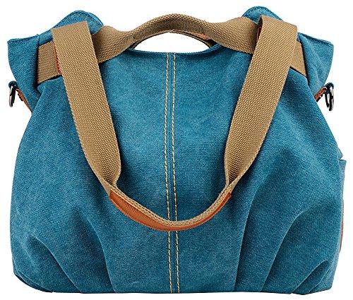 Borse di tela delle donne - Casual Top Handle Borse Borse / spalla per lo shopping e Viaggiare-Noir Bleu