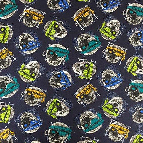 Schlafanzug Bandana (NAVY blau Halloween Bandana SKULLS 100% Baumwolle gedruckt Stoff für,, Kleid 152,4cm 150cm breit–Meterware)
