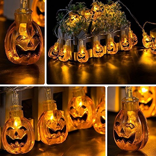 Halloween Solar String Lights, Kwock Zwei Modi 4.8m 20 Lichter 3D Laternen für Outdoor, Cosplay, Theme Parties und Haus Dekoration (Kürbis Lichterketten) (Outdoor Halloween Dekoration)