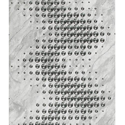 3151 - Papel pintado para pared, diseño de lunares, color blanco y plateado