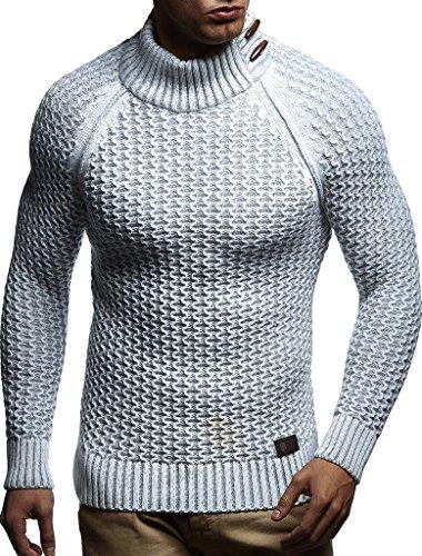 LEIF NELSON Herren Pullover Hoodie Strickpullover Sweatshirt Longsleeve Strickjacke Winterpullover Pulli LN5295; Größe S, Ecru-Grau   04251510203214